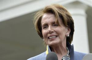 House Minority Leader Nancy Pelosi speaks outside the White House in Washington, Tuesday, April 1, 2014.