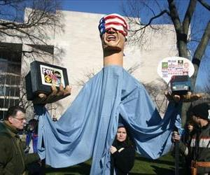 A blindfolded puppet is seen at an anti-war protest on the National Mall, Jan. 27, 2007.