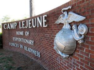 The globe and anchor stand at the entrance to Camp Lejeune, North Carolina.