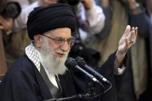 Supreme leader Ayatollah Ali Khamenei gives a speech at a public gathering in the city of Mashhad, Iran, Friday, March 21, 2014.