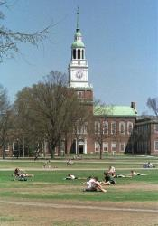 In this May 1, 2001 photo, Dartmouth College students lounge on a lawn on the campus in Hanover, NH.