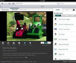 This file image provided by Aereo shows a screenshot from an iPad of Aereo.com streaming 'Bob the Builder' on New York's PBS station WNET 13.