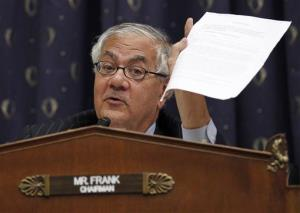 In this July 22, 2010 photo, Rep. Barney Frank asks a question as Chairman of the Federal Reserve Ben Bernake testifies before the House Financial Services Committee on Capitol Hill in Washington.
