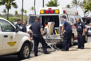The boy is loaded into an ambulance at Kahului Airport in Kahului, Maui, Hawaii yesterday.