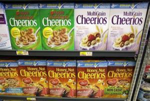 General Mills' Cheerios cereals are seen on display at a store in Palo Alto, Calif.