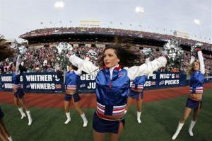 Buffalo Bills cheerleaders perform during the first half of an NFL football game against the Miami Dolphins in Orchard Park, N.Y., Sunday Nov. 29, 2009.