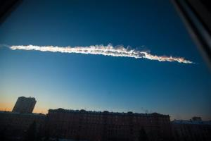In this Friday, Feb. 15, 2013, file photo, provided by Chelyabinsk.ru, a meteorite contrail is seen over Chelyabinsk.