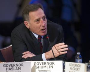 Vermont Gov. Peter Shumlin participates in the morning session of the National Governor's Association Winter Meeting in Washington, in this Feb. 22, 2014 file photo.