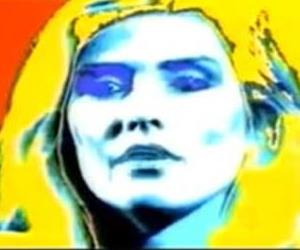 A digital painting made by Andy Warhol is seen in this YouTube screenshot.