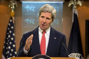 John Kerry speaks about the situation with Ukraine and Russia from the State Department in Washington, Thursday, April 24, 2014.