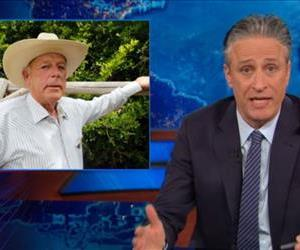 Jon Stewart dives back into the Cliven Bundy story in this screenshot.