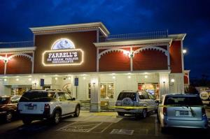 Poiice investigate a fatal parking lot accident at Farrell's Ice Cream Parlour in Buena Park, Friday April 25, 2014.