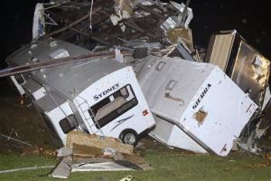 Travel trailers and motor homes are piled on top of each other at Mayflower RV in Mayflower, Ark.