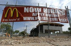 Jobs in industries like real estate have been replaced by jobs in the fast-food industry, the report found.