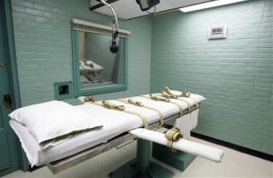 The gurney in the Huntsville, Texas death chamber.