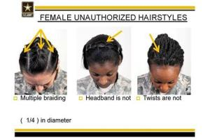 This undated image shows new Army grooming regulations for females. New Army regulations meant to help standardize and professionalize soldiers' appearance is now coming under criticism.