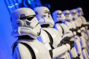 Stormtroopers take over the stage during a private Disney event at the Licensing Expo, Monday June 17, 2013 in Las Vegas.
