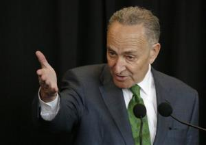 Sen. Charles Schumer, D-New York, speaks April 28 in New York.