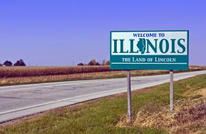 Around half of Illinois residents would rather see the other side of this sign in their rear-view mirror.
