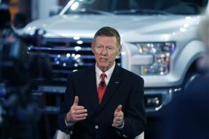Alan Mulally, President and CEO of the Ford Motor Co., is interviewed at the North American International Auto Show in Detroit, Monday, Jan. 13, 2014.