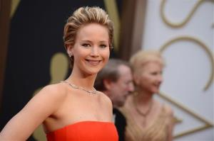 Jennifer Lawrence arrives at the Oscars on Sunday, March 2, 2014, at the Dolby Theatre in Los Angeles.