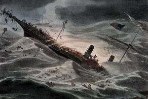 A painting of the SS Central America's sinking in 1857.