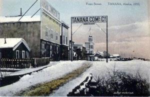 A postcard of Tanana, Alaska's Front Street.