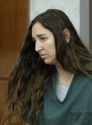 Megan Huntsman appears in court on April 28 in Provo, Utah.