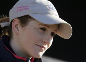 Jockey Rosie Napravnik answers questions at Churchill Downs May 1 in Louisville, Ky.