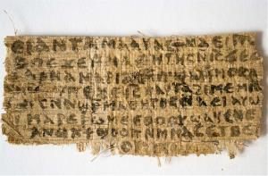 This Sept. 5, 2012 file photo shows a fragment of the papyrus in question.