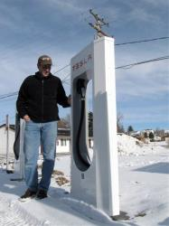 Michael Fritts charged his Tesla at Supercharger stations similar to this one in Wyoming.