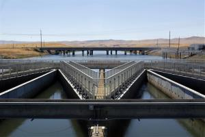 In this Sept. 23, 2013 file photo, water flows through fish diversion louvres at the John E. Skinner Delta Fish Protective Facility near Tracy, Calif.