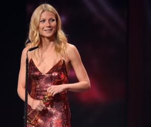 In this picture taken Saturday Feb. 1, 2014, Gwyneth Paltrow  poses with her award during the Goldene Kamera (Golden Camera ) media  award event in Berlin, Germany.