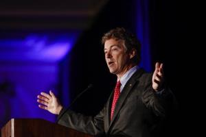 Kentucky Senator Rand Paul address attendees during the Republican National Committee spring meeting at the Peabody hotel in Memphis, Tenn., on May 9, 2014.