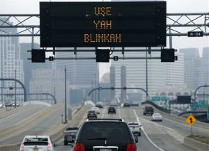 An electronic highway sign is seen on Interstate 93 in Boston Friday.