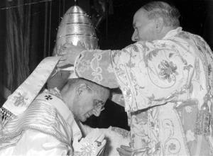 In this file photo from  June 30, 1963, Alfredo Cardinal Ottaviani and Pope Paul VI during his inaugural.