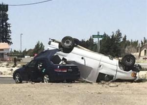 The site of the crash in Hesperia, California yesterday.