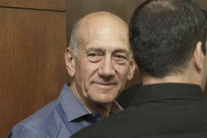 Former Israeli Prime Minister Ehud Olmert attends a hearing at Tel Aviv's District Court.