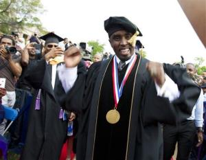 Entertainer and entrepreneur Sean Combs arrives to the 2014 Howard University graduation ceremony at Howard University in Washington, on Saturday, May 10, 2014.
