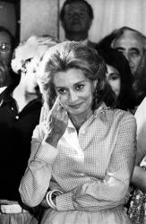 This June 3, 1975 file photo shows Barbara Walters reacting as she addresses staff members from the NBC Today show during a farewell party in the studios in New York.