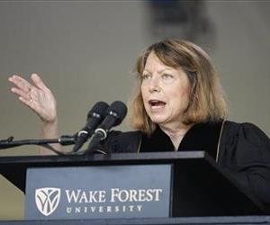 Jill Abramson, former executive editor of The New York Times, speaks at the commencement ceremony at Wake Forest University in Winston-Salem, NC, May 19, 2014.
