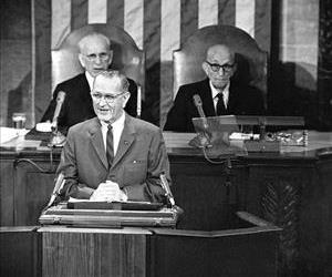 This Jan. 12, 1966 file photo shows President Lyndon Baines Johnson giving his State of the Union address on Capitol Hill.