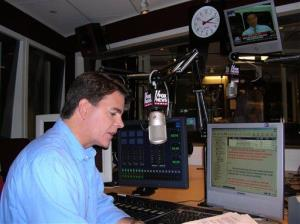 Fox News anchor Gregg Jarrett is seen rehearsing for the debut of Fox News Radio's five-minute newscast.