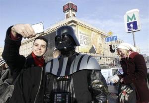 Darth Vader poses for photos in central Kiev in 2012.