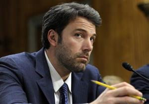 Ben Affleck listens to testimony on Capitol Hill in Washington, Wednesday, Feb. 26, 2014, during the Senate Foreign Relations Committee hearing on the Congo.