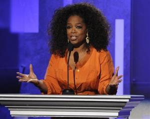 This Feb. 22, 2014 file photo shows Oprah Winfrey speaking at the 45th NAACP Image Awards  in Pasadena, Calif.