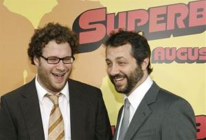 Seth Rogen, left, and Judd Apatow arrive at the premiere of Superbad in Los Angeles on Monday, Aug. 13, 2007.