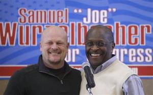 Herman Cain joins Republican congressional candidate Samuel Wurzelbacher, better known as Joe the Plumber, on the campaign trail, Friday, Feb. 24, 2012, in Rocky River, Ohio.