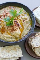 Hummus, which had better have some chickpeas and tahini in it.