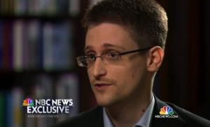Edward Snowden speaks to NBC News anchor Brian Williams during an NBC Exclusive interview.